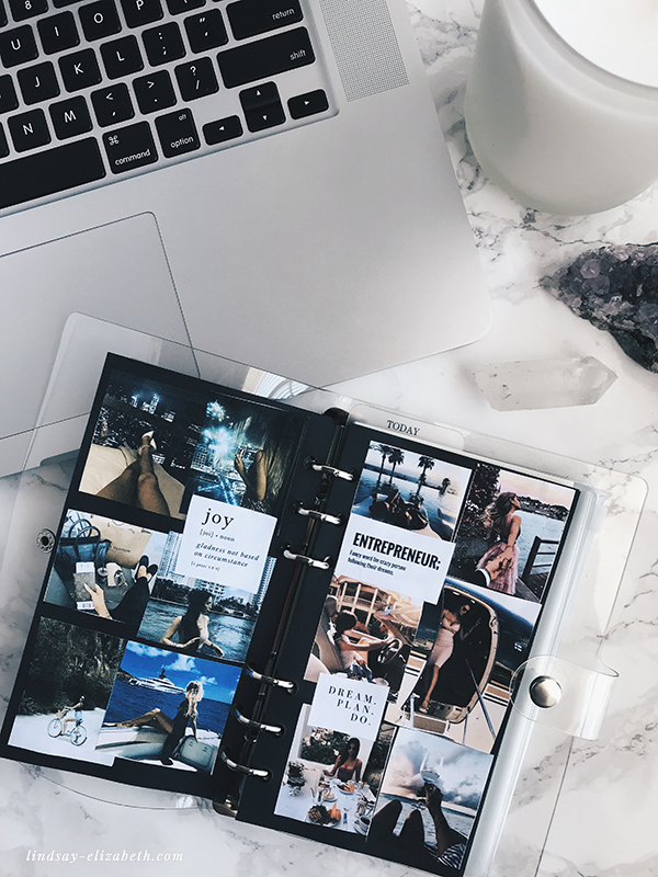 Keep yourself focused on designing the life of your dreams by creating your own inspiration journal filled with vision boards, affirmations, and pages to fill with your goals, to-do lists, and more. Check out this easy tutorial on how to put together your own! | lindsay-elizabeth.com